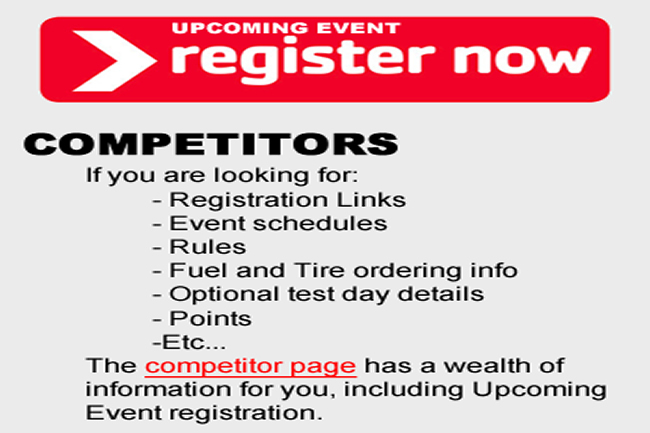 Information on registering for the Upcoming Formula Car Challenge event